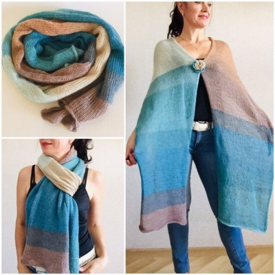 Turquoise scarf Knitted mohair scarf Winter wrap shawl Knit wool shawl Long mohair scarf Woman knit scarf Mohair shawl Soft warm scarves
