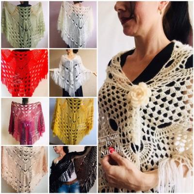 Bridal Shawl Wraps Triangle Fringe Big Size Shawl Brooch Pins White Blue Wedding Crochet Gift for mom wife Boho Mohair Hand Knit Large Shawl