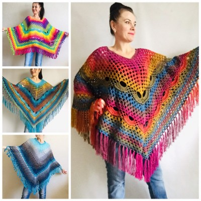 Prayer shawl Poncho men women, Evening cover up, Boho Unisex Vegan poncho Plus size oversized festival clothing, Crochet summer cape Fringe