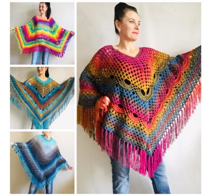 Prayer shawl Poncho men women, Evening cover up, Boho Unisex Vegan poncho Plus size oversized festival clothing, Crochet summer cape Fringe  Poncho