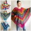 Prayer shawl Poncho men women, Evening cover up, Boho Unisex Vegan poncho Plus size oversized festival clothing, Crochet summer cape Fringe