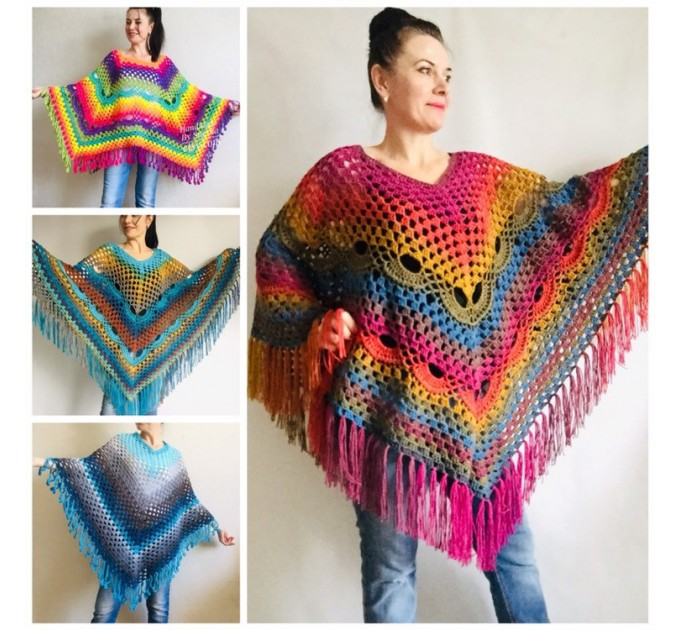 Prayer shawl Poncho men women, Evening cover up, Boho Unisex Vegan poncho Plus size oversized festival clothing, Crochet summer cape Fringe  Poncho  1