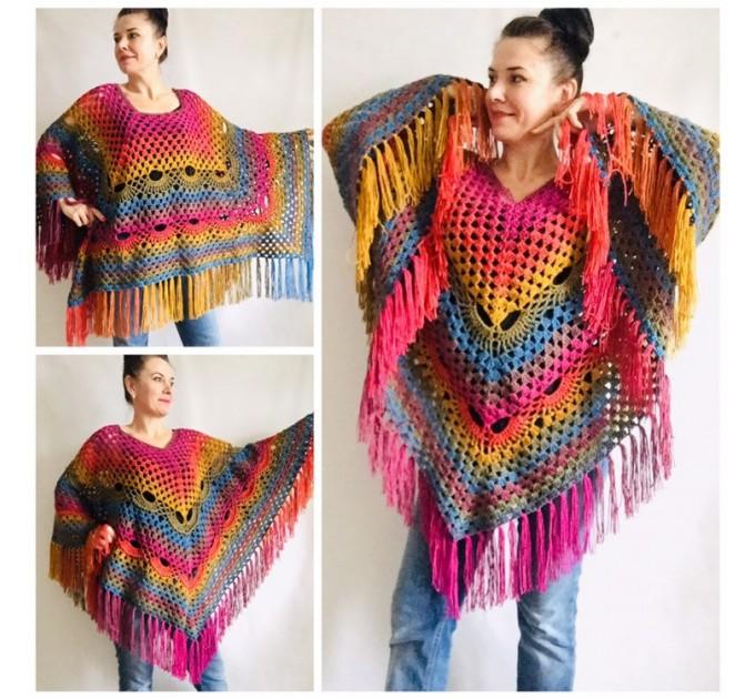 Prayer shawl Poncho men women, Evening cover up, Boho Unisex Vegan poncho Plus size oversized festival clothing, Crochet summer cape Fringe  Poncho  6