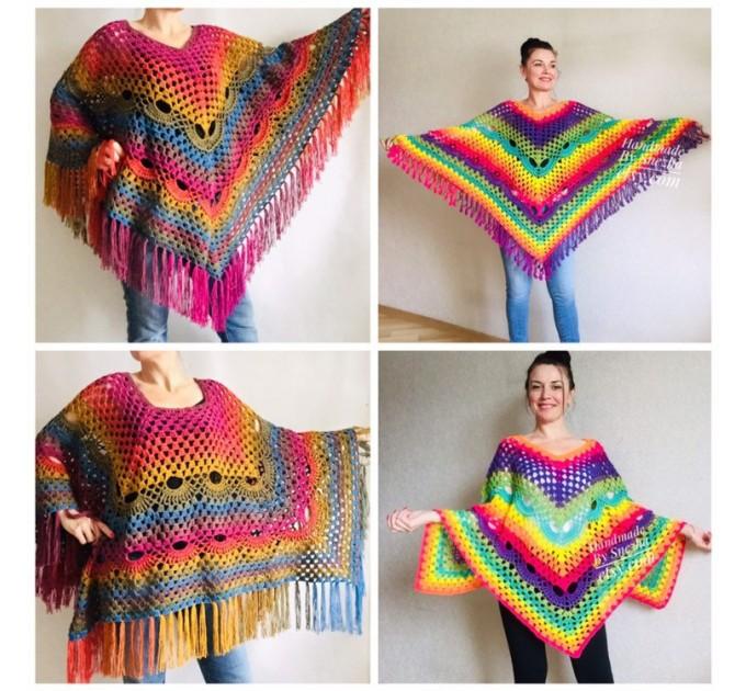 Prayer shawl Poncho men women, Evening cover up, Boho Unisex Vegan poncho Plus size oversized festival clothing, Crochet summer cape Fringe  Poncho  7