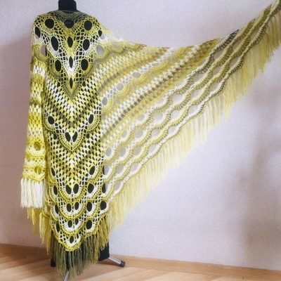 Olive Crochet Shawl Poncho Women Fringe Green Mohair Big Size Triangle Shawl Gradient Blue Alpaca Long Hand knit Bohemian Hand Knit Shawl