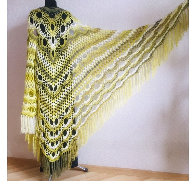 Olive Crochet Shawl Poncho Women Fringe Green Mohair Big Size Triangle Shawl Gradient Blue Alpaca Long Hand knit Bohemian Hand Knit Shawl  Shawl / Wraps
