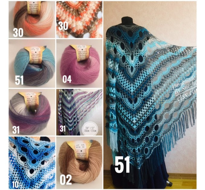 Olive Crochet Shawl Poncho Women Fringe Green Mohair Big Size Triangle Shawl Gradient Blue Alpaca Long Hand knit Bohemian Hand Knit Shawl  Shawl / Wraps  4