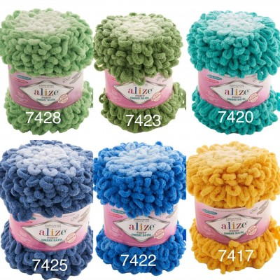 Alize PUFFY OMBRE BATIK Yarn 600gr, Gradient Rainbow Yarn, Easy Finger Knitting Yarn No hook No neddle, Velvet, Super Chunky Yarn Mandala