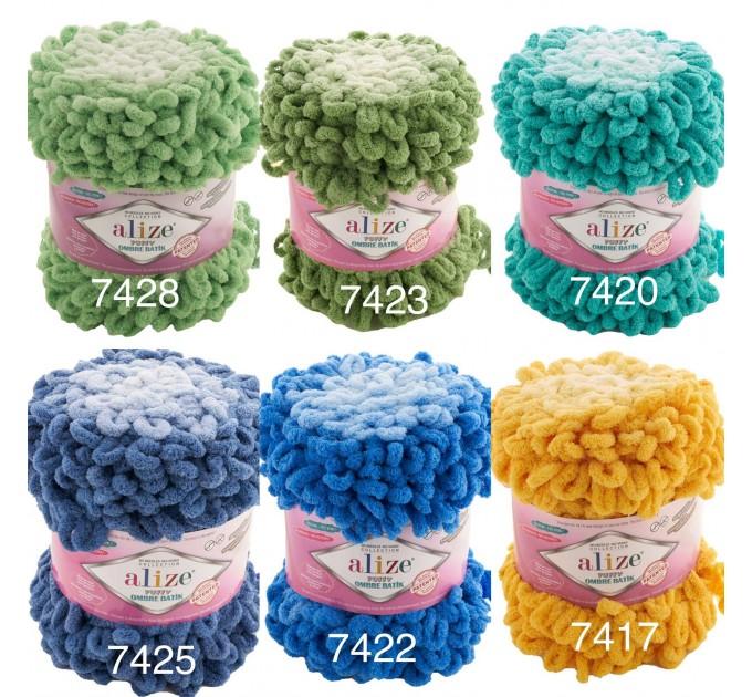 Alize PUFFY OMBRE BATIK Yarn 600gr, Gradient Rainbow Yarn, Easy Finger Knitting Yarn No hook No neddle, Velvet, Super Chunky Yarn Mandala  Yarn
