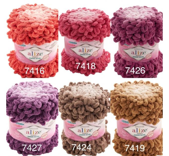 Alize PUFFY OMBRE BATIK Yarn 600gr, Gradient Rainbow Yarn, Easy Finger Knitting Yarn No hook No neddle, Velvet, Super Chunky Yarn Mandala  Yarn  3