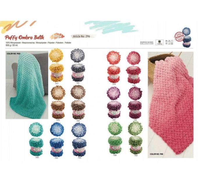 Alize PUFFY OMBRE BATIK Yarn 600gr, Gradient Rainbow Yarn, Easy Finger Knitting Yarn No hook No neddle, Velvet, Super Chunky Yarn Mandala  Yarn  4