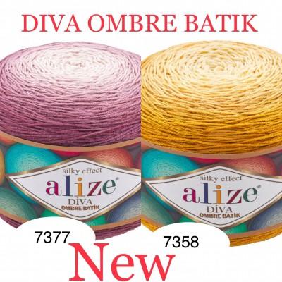 Alize DIVA OMBRE BATIK 250 gr Gradient Yarn Crochet Hand Knitting Hypoallergenic Yarn Microfiber Multicolor Lace Soft Summer Acrylic Rainbow