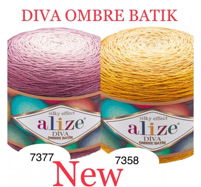Alize DIVA OMBRE BATIK 250 gr Gradient Yarn Crochet Hand Knitting Hypoallergenic Yarn Microfiber Multicolor Lace Soft Summer Acrylic Rainbow  Yarn