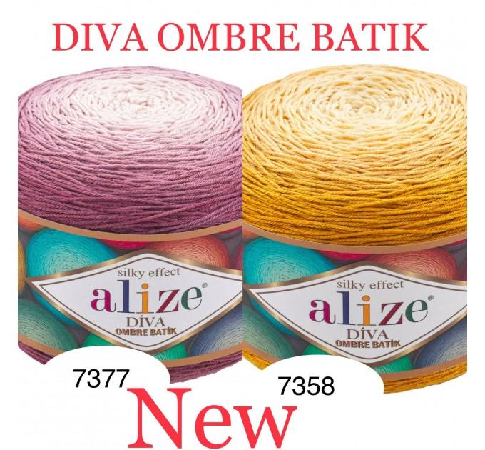 Alize DIVA OMBRE BATIK 250 gr Gradient Yarn Crochet Hand Knitting Hypoallergenic Yarn Microfiber Multicolor Lace Soft Summer Acrylic Rainbow  Yarn  1