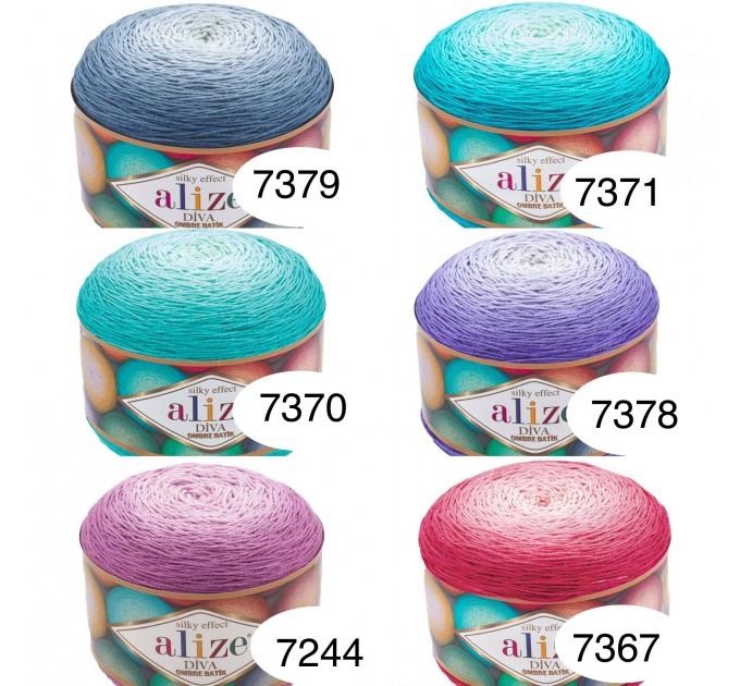 Alize DIVA OMBRE BATIK 250 gr Gradient Yarn Crochet Hand Knitting Hypoallergenic Yarn Microfiber Multicolor Lace Soft Summer Acrylic Rainbow  Yarn  2