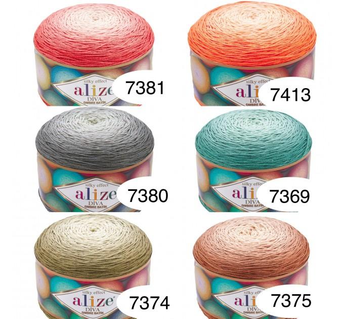 Alize DIVA OMBRE BATIK 250 gr Gradient Yarn Crochet Hand Knitting Hypoallergenic Yarn Microfiber Multicolor Lace Soft Summer Acrylic Rainbow  Yarn  3
