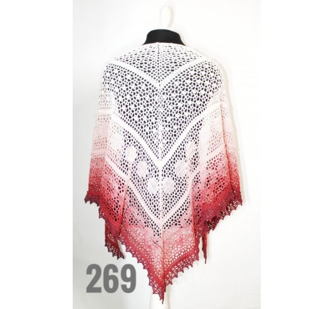 White Crochet Lace Shawl Wraps Shawl Boho Triangle Pink Scarf for Women Cotton Rainbow Floral Hand Knit Shawl Large Summer  Shawl / Wraps  1