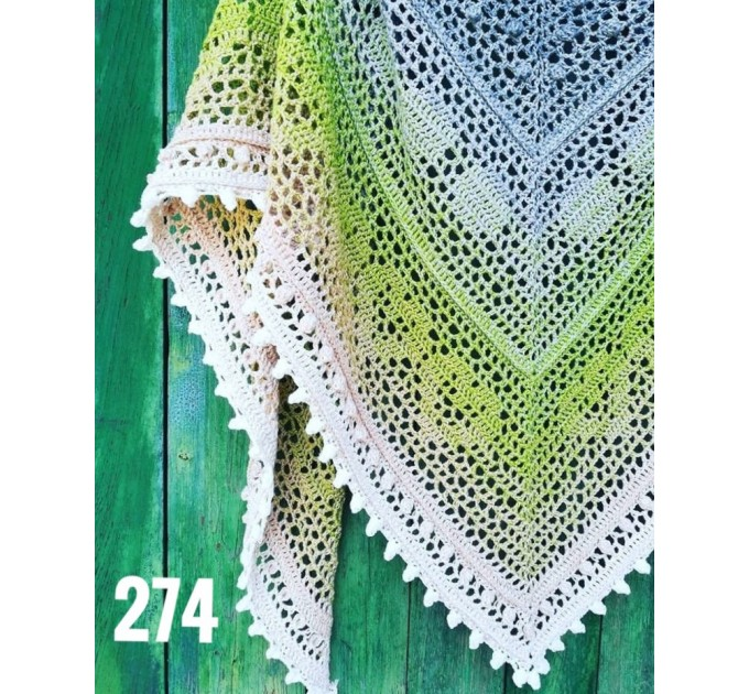 White Crochet Lace Shawl Wraps Shawl Boho Triangle Pink Scarf for Women Cotton Rainbow Floral Hand Knit Shawl Large Summer  Shawl / Wraps  5