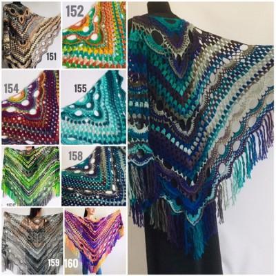 Large shawl, virus shawl, Boho triangle crochet shawl festival outlander shawl Knit long fringe shawl Evening Shawl Purple Emerald Blue Gray