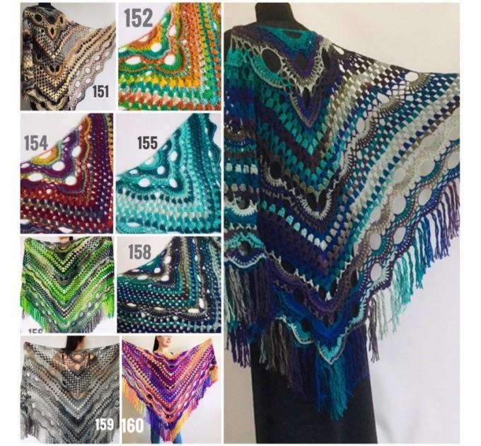 Large shawl, virus shawl, Boho triangle crochet shawl festival outlander shawl Knit long fringe shawl Evening Shawl Purple Emerald Blue Gray  Shawl / Wraps  5