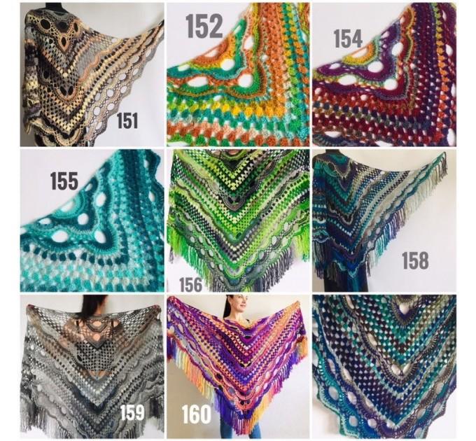 Large shawl, virus shawl, Boho triangle crochet shawl festival outlander shawl Knit long fringe shawl Evening Shawl Purple Emerald Blue Gray  Shawl / Wraps  6
