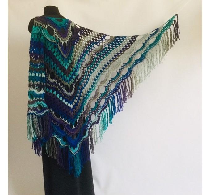Large shawl, virus shawl, Boho triangle crochet shawl festival outlander shawl Knit long fringe shawl Evening Shawl Purple Emerald Blue Gray  Shawl / Wraps  1