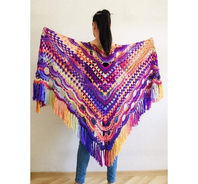 Large virus shawl Boho crochet shawl festival Outlander triangle shawl Knit long fringe shawl Evening Wraps Purple Emerald Burnt Orang Green  Shawl / Wraps  4