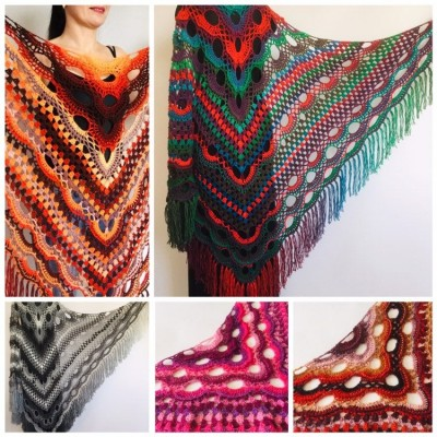 Crochet Shawl Wrap Virus Outlander Triangle Boho Shawl Fringe Large Multicolor Lace Shawl Hand Knit Evening Shawl Red Green Navy Blue Purple