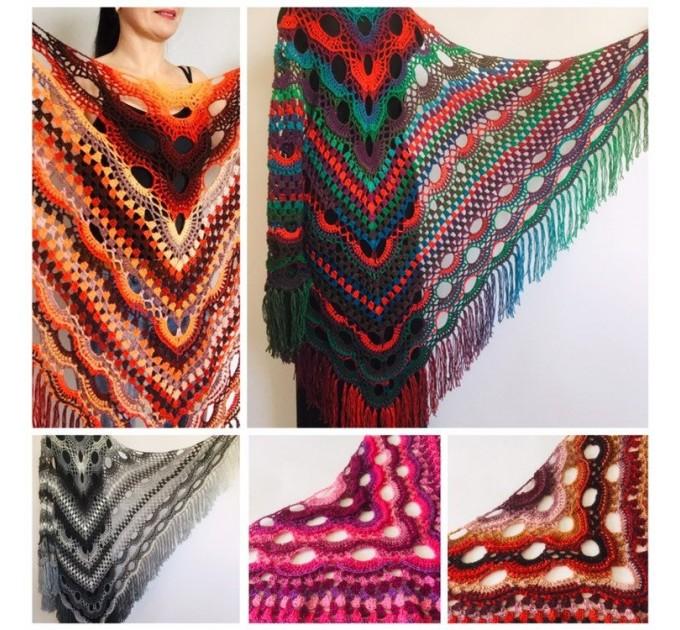 Crochet Shawl Wrap Virus Outlander Triangle Boho Shawl Fringe Large Multicolor Lace Shawl Hand Knit Evening Shawl Red Green Navy Blue Purple  Shawl / Wraps