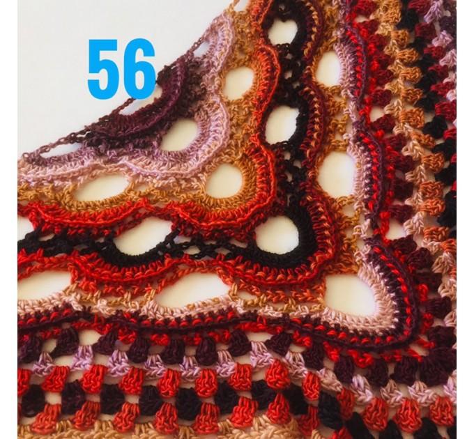 Crochet Shawl Wrap Virus Outlander Triangle Boho Shawl Fringe Large Multicolor Lace Shawl Hand Knit Evening Shawl Red Green Navy Blue Purple  Shawl / Wraps  10