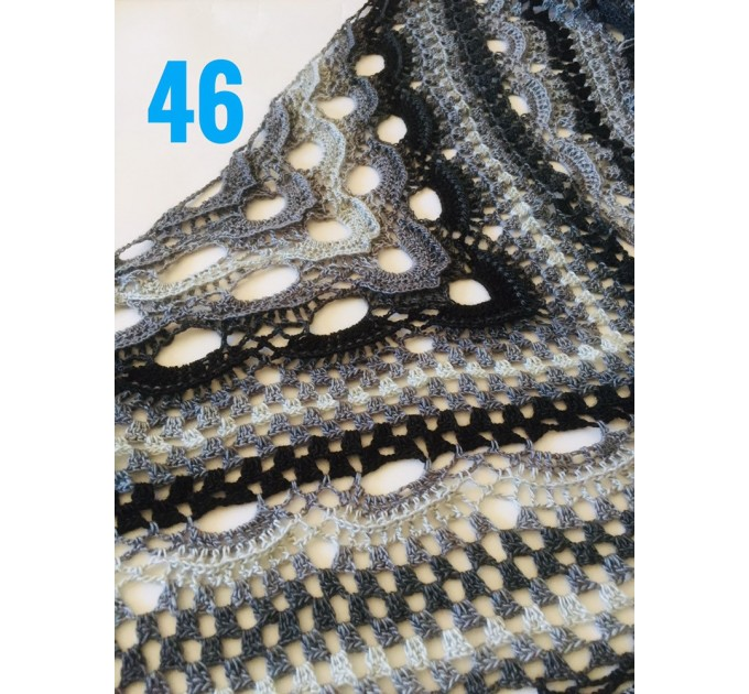 Crochet Shawl Wrap Virus Outlander Triangle Boho Shawl Fringe Large Multicolor Lace Shawl Hand Knit Evening Shawl Red Green Navy Blue Purple  Shawl / Wraps  8