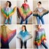 Crochet shawl, Lace shawl, Lace stole Knitted shawl, Crochet scarf gift for her Cotton shawl lace wrap Shrug bolero Striped triangular shawl