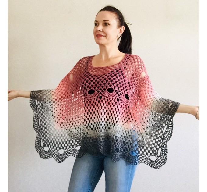 Crochet shawl, Lace shawl, Lace stole Knitted shawl, Crochet scarf gift for her Cotton shawl lace wrap Shrug bolero Striped triangular shawl  Shawl / Wraps  4