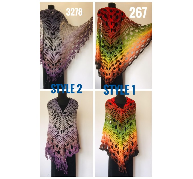 Crochet Poncho Women Boho Shawl Big Size Vintage Rainbow Cotton Boho Fringed Cape Hippie Gift for Her Bohemian Vibrant Colors Boat Neck  Poncho  1