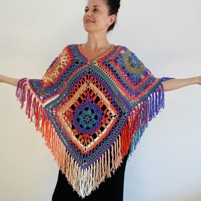 Rainbow Poncho Women, Granny square Patchwork Poncho Crochet Triangle Shawl Wraps Fringe, Plus size Festival Vegan Pride