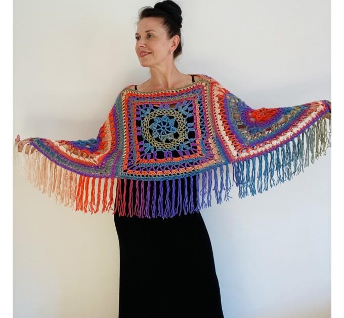 Green poncho women, Brown Plus size crochet cape wraps, Yellow Boho fringe vest Granny square, Vegan loose hand knit poncho  Acrylic / Vegan  3