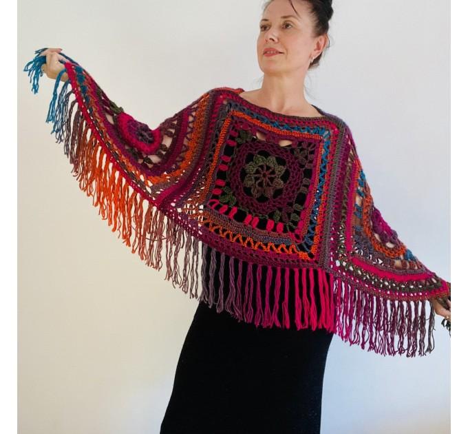 Green poncho women, Brown Plus size crochet cape wraps, Yellow Boho fringe vest Granny square, Vegan loose hand knit poncho  Acrylic / Vegan  5