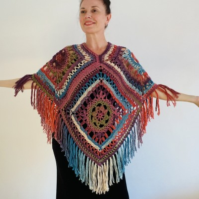 Poncho for women, Loose knitted openwork cape Plus size with cotton fringe, Lace Vegan Festival Girls Wraps, Multicolor poncho