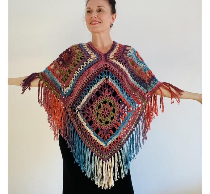Green poncho women, Brown Plus size crochet cape wraps, Yellow Boho fringe vest Granny square, Vegan loose hand knit poncho  Acrylic / Vegan  6