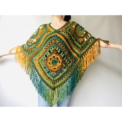 Green poncho women, Brown Plus size crochet cape wraps, Yellow Boho fringe vest Granny square, Vegan loose hand knit poncho