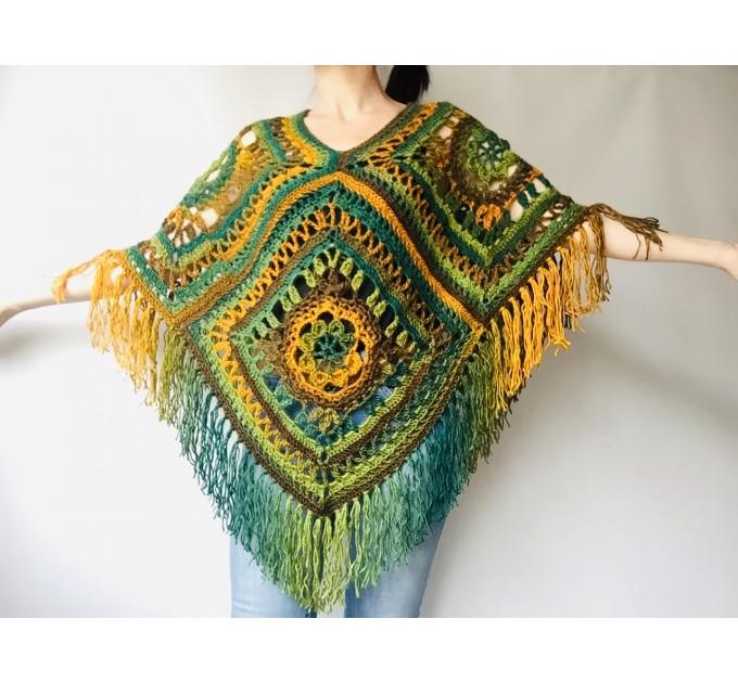 Green poncho women, Brown Plus size crochet cape wraps, Yellow Boho fringe vest Granny square, Vegan loose hand knit poncho  Acrylic / Vegan