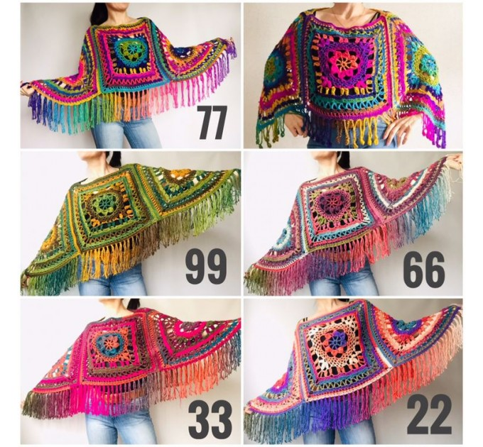 Green poncho women, Brown Plus size crochet cape wraps, Yellow Boho fringe vest Granny square, Vegan loose hand knit poncho  Acrylic / Vegan  10