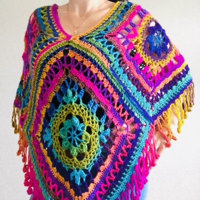 Rainbow poncho Granny square poncho festival clothes hippie poncho knit poncho crochet poncho women poncho cape coat fringe cape rainbow mexico poncho