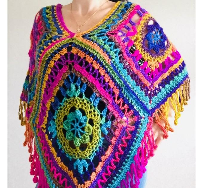 Green poncho women, Brown Plus size crochet cape wraps, Yellow Boho fringe vest Granny square, Vegan loose hand knit poncho  Acrylic / Vegan  8