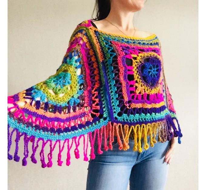 Green poncho women, Brown Plus size crochet cape wraps, Yellow Boho fringe vest Granny square, Vegan loose hand knit poncho  Acrylic / Vegan  9