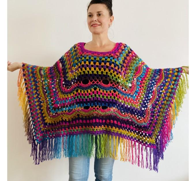 Rainbow Poncho Pride Women, Crochet outlander Triangle Shawl Wraps Fringe, Plus size Festival Vegan, Mom-Birthday-Gift-from-Daughter  Acrylic / Vegan  1