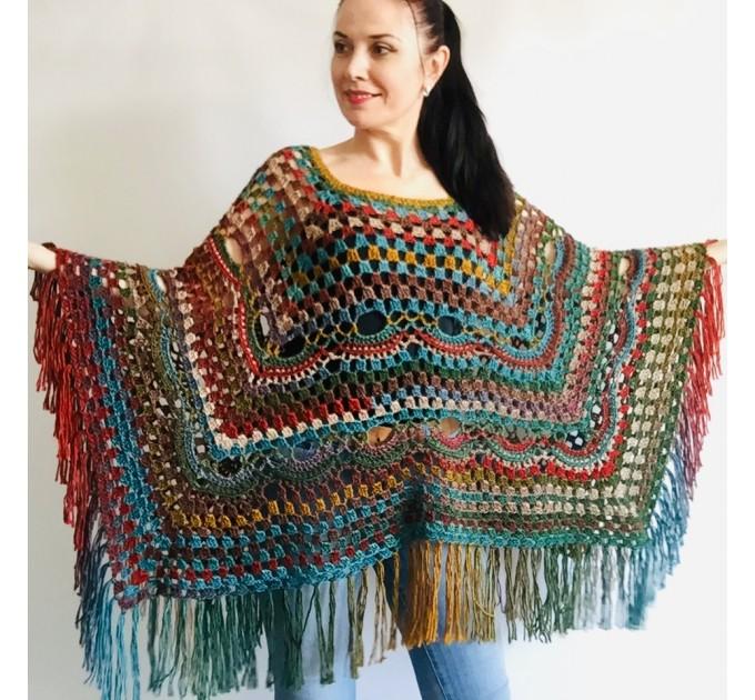Rainbow Poncho Pride Women, Crochet outlander Triangle Shawl Wraps Fringe, Plus size Festival Vegan, Mom-Birthday-Gift-from-Daughter  Acrylic / Vegan  4