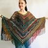 Multicolored Poncho, Boho Poncho, Evening cover up, Unisex Vegan Acrylic poncho Plus size oversize hippie knit poncho, Crochet Woman Poncho