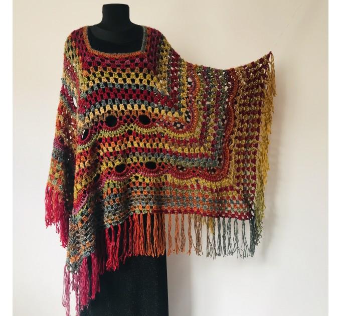 Rainbow Poncho Pride Women, Crochet outlander Triangle Shawl Wraps Fringe, Plus size Festival Vegan, Mom-Birthday-Gift-from-Daughter  Acrylic / Vegan  7