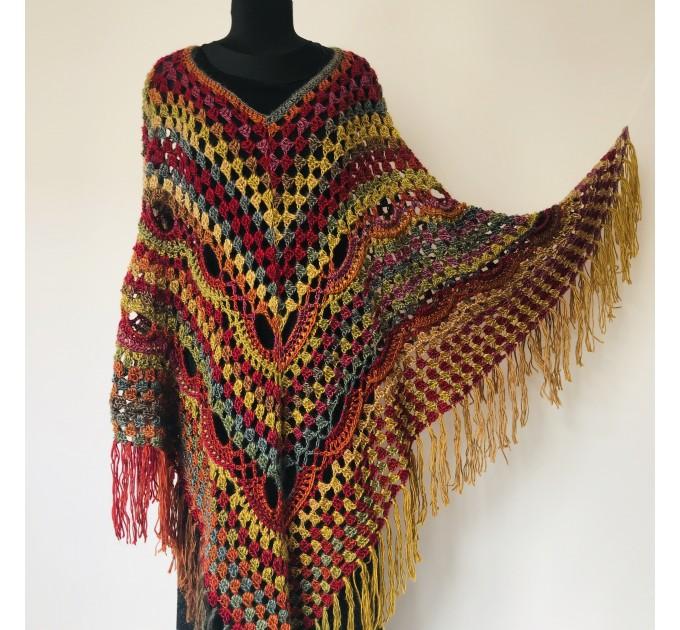 Rainbow Poncho Pride Women, Crochet outlander Triangle Shawl Wraps Fringe, Plus size Festival Vegan, Mom-Birthday-Gift-from-Daughter  Acrylic / Vegan  6